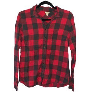 J. Crew Red & Black Button Down Flannel (Size: M)